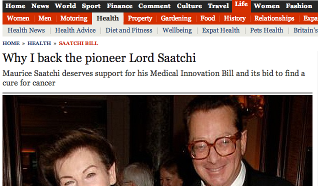 Why I back pioneer Lord Saatchi - Max Pemberton in the Telegraph