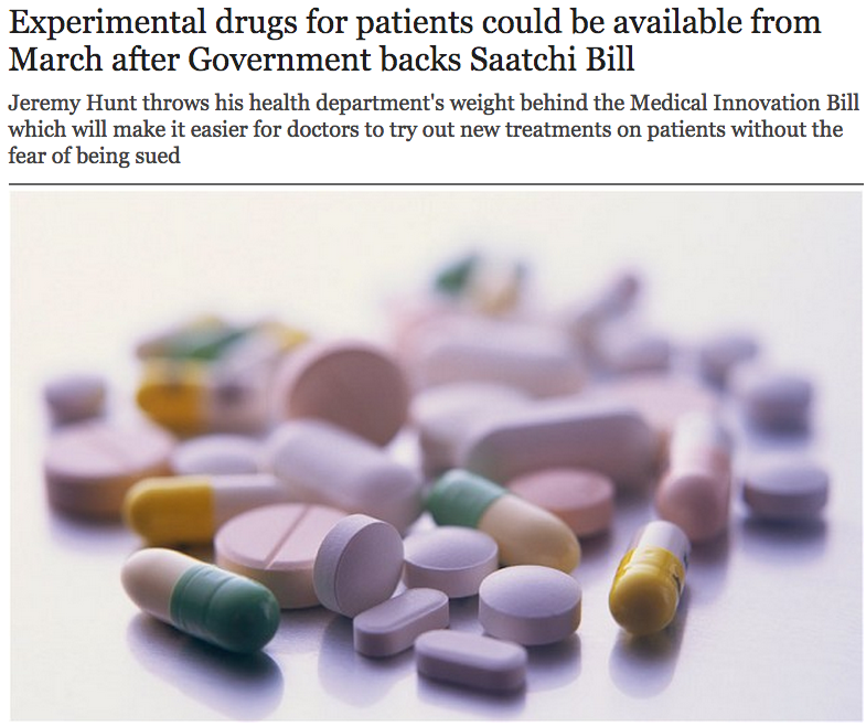 Experimental drugs for patients could be available from March after Government backs Saatchi Bill