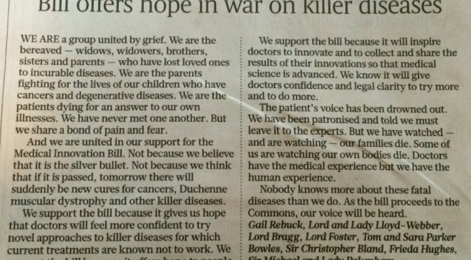 Letter to Sunday Times supporting Medical Innovation Bill